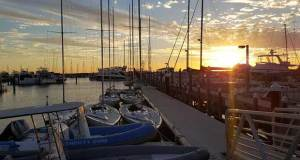 Sunset over Royal Perth Yacht Club Annexe Fremantle Day 1 WA State Championships 11 March 2017 - 2017 International Etchells WA State Championships © Mandy McEvoy
