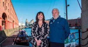 (Right to left) LCC Deputy Mayor, Cllr Ann O'Byrne and Clipper Race Chairman Sir Robin Knox-Johnston in Albert Dock, Liverpool © Clipper Ventures
