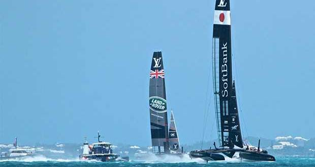 Softbank Team Japan followed by Land Rover BAR (GBR) Practice Day, America's Cup 2017, May 25, 2017 Great Sound Bermuda Richard Gladwell www.photosport.co.nz