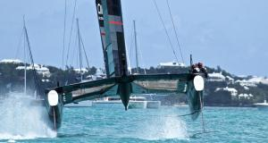 Race 8 - Land Rover BAR's windward rudder clears the water and reduced the downward force of the foil by 600-700kgs, precipitating a massive nosedive - 35th America's Cup - Bermuda May 27, 2017 © Richard Gladwell www.photosport.co.nz