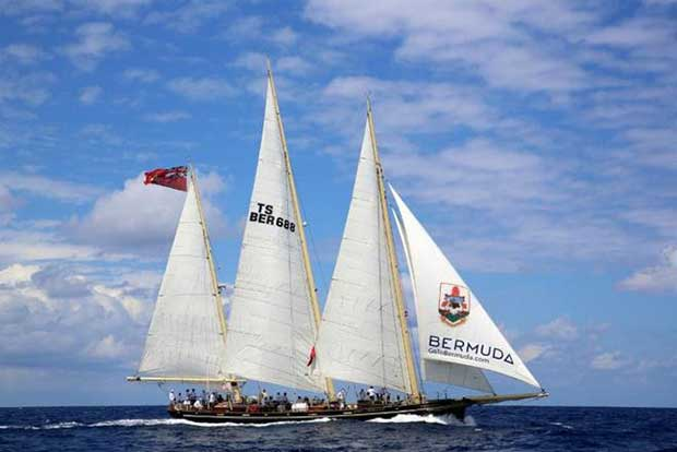 The 112ft three-masted schooner Spirit of Bermuda owned by the Bermuda Sloop Foundation © Ed Gifford