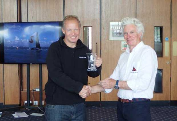 Stewart Whitehead's Rebellion receiving the runners up prize from Robert Vose, Royal Southern YC Rear Commodore Sailing - FAST40+ Spring Regatta © Leslie Greenhalgh