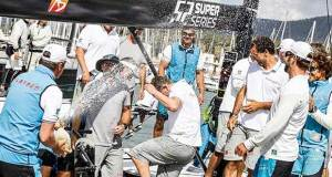 A moment of jubilation onboard Platoon upon arriving to the docks - 2017 Rolex TP52 World Championship © Martinez Studio/52 Super Series