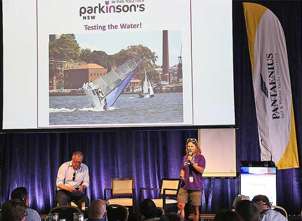 Poppy presenting at ASMEX, and happy to share that her skiff days were not all beer and skittles © John Curnow