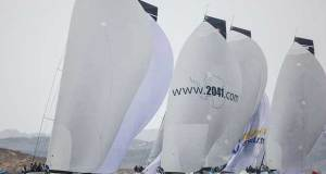 The RC44 fleet race downwind in Porto Cervo - 2017 RC44 Porto Cervo Cup © Nico Martinez http://www.nicomartinez.com
