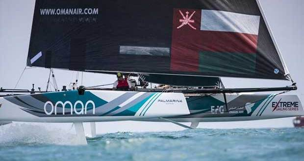 The Extreme Sailing Series 2017. Act4. Barcelona, Spain. Pictures of Oman Air Sailing Team skippered by Phil Robertson with team mates Pete Greenhalgh, Ed Smyth, Nasser Al Mashari and James Wierzbowski racing close to the city of Barcelona on day 2 of racing. Lloyd Images http://lloydimagesgallery.photoshelter.com/