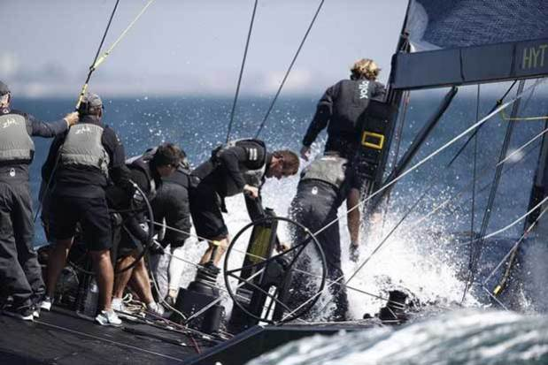 The crew working hard on Team Nika in RC44 Cascais Cup 2016 © Pedro Martinez / Martinez Studio / RC44