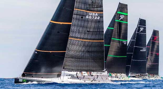 Bella Mente and the rest of the Maxi 72 fleet at the Rolex Maxi 72 World Championship in Porto Cervo © Rolex / Carlo Borlenghi http://www.carloborlenghi.net