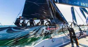 Bronenosec Sailing Team and Artemis Racing Youth come into the windward mark neck and neck - 2017 RC44 Cascais Cup © Pedro Martinez / Martinez Studio / RC44