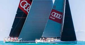 Seeing double: supermaxi Wild Oats XI towers over the smaller Wild Oats X at Audi Hamilton Island Race Week 2017 © Andrea Francolini http://www.afrancolini.com/