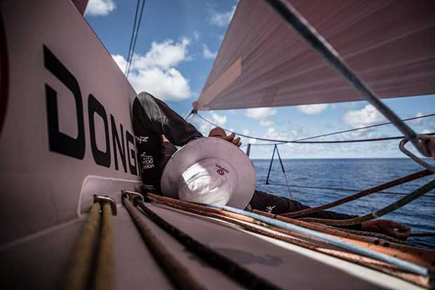 Volvo Ocean Race Leg 4, Melbourne to Hong Kong, day 08, Skipper Mark Towill at the helm during his mid-day watch on board Vestas 11th Hour. © Amory Ross / Volvo Ocean Race