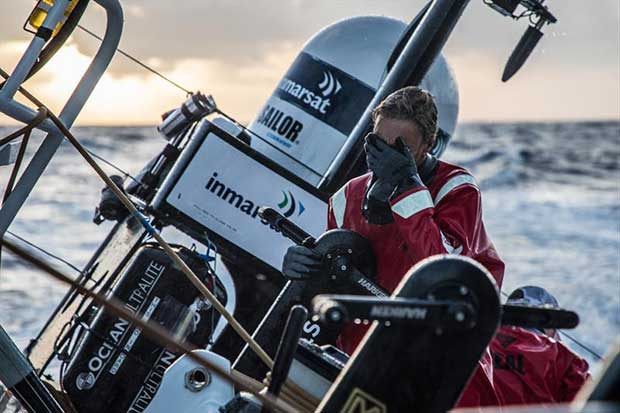 Leg 4, Melbourne to Hong Kong, day 14 'If I can't see the waves, they can't see me' Annemieke Bes on board Sun Hung Kai / Scallywag. © Konrad Frost / Volvo Ocean Race