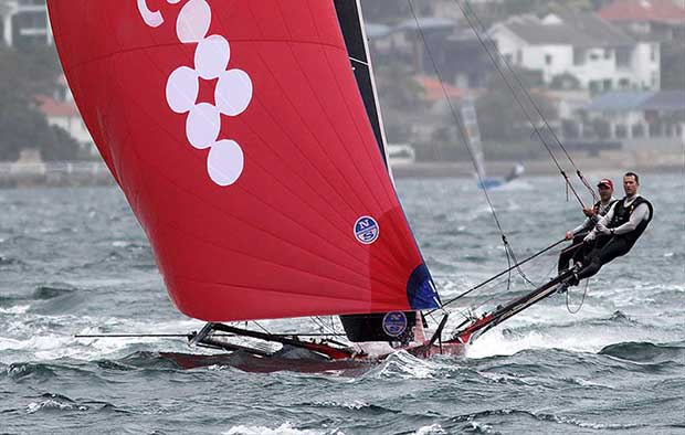 The Smeg crew make it look too easy in the tough conditions on Sydney Harbour - 18ft Skiffs Australian Championship 2018 - photo © Frank Quealey