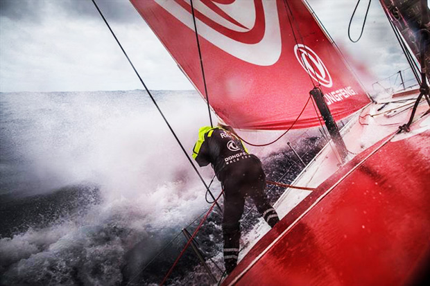 Volvo Ocean Race Leg 6 to Auckland, day 03 on board Dongfeng. Marie Riou in action at the bow in rough conditions. 09 February - photo © Martin Keruzore / Volvo Ocean Race