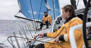 Volvo Ocean Race Leg 6 to Auckland, day 4 on board Turn the Tide on Plastic. Liz Wardley and Bianca Cook rigging up some new sheets. 10 February. - photo © James Blake / Volvo Ocean Race