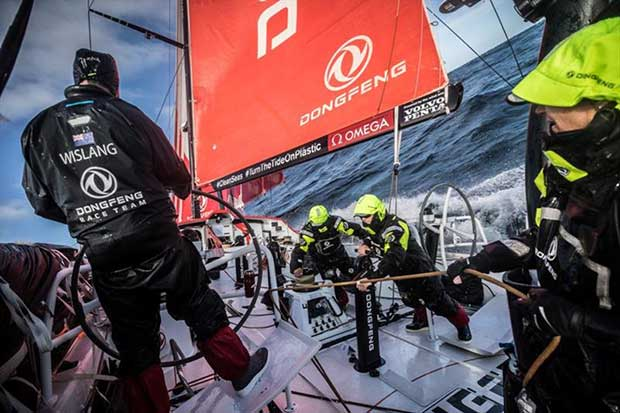 Volvo Ocean Race Leg 7 from Auckland to Itajai, day 03 on board Dongfeng. Daryl Wislang driving the bus trough the Pacific. 20 March © Martin Keruzore / Volvo Ocean Race