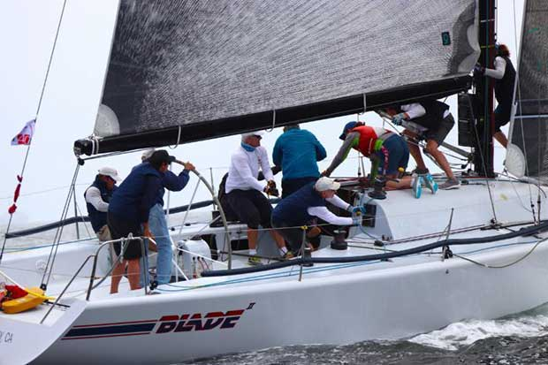 Crew members aboard Blade perform a sail change at a mark rounding on Thursday. Owner-driver Mick Shlens sailed Blade to three Top 5 finishes on Thursday. - photo © Farr 40 Class / Joy Sailing