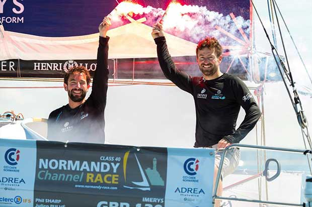 Phil Sharp & Julien Pulvé on IMERYS win the 2018 Normandy Channel Race by 6 seconds © Jean-Marie Liot / NCR2018