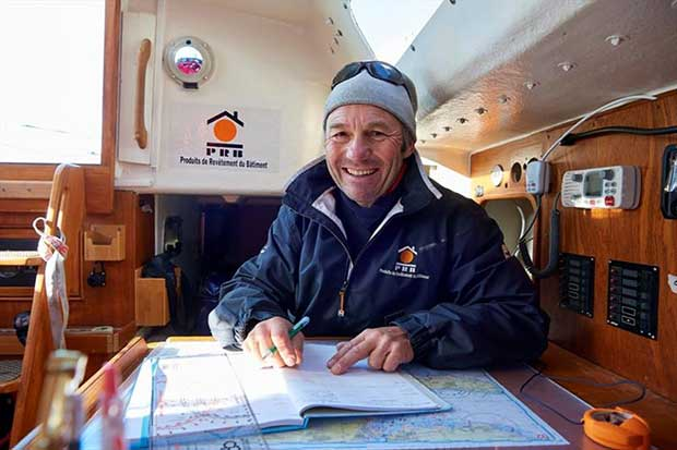 All smiles on PRB but an area of light winds could trouble Philippe Péché over the next 24 hours and shake up the fleet positions © Event Media