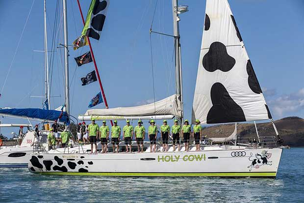 The Holy Cow crew line the deck in the Best Presented Yacht section of the Prix d'Elegance at Hamilton Island Race Week. © Andrea Francolini