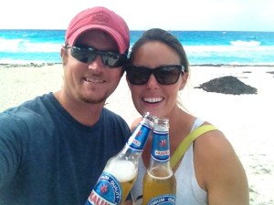 Founders, Matt and Deanna on a tropical beach.