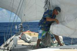 Sail repair at sea!