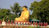 Buddha and lifelike monk statues - Sagaing