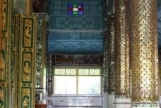 coloured glass pillars on interior