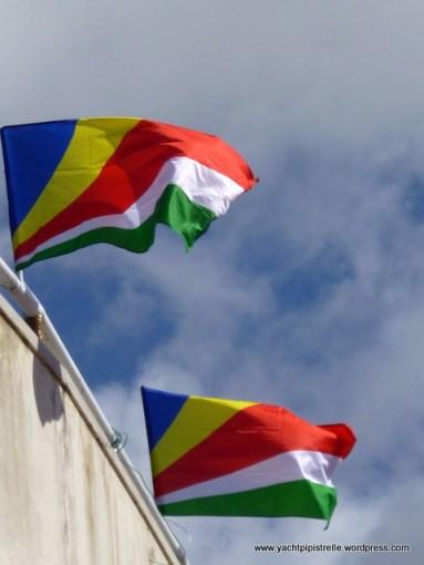 Flying the Seychellois flag
