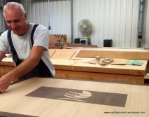 In the making ... Saloon table with Discovery logo
