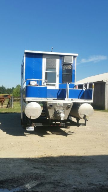 32 Pontoon Boat W Trailer Amp Cabin 350 Chevy Inboard