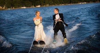 Water skiing groom and bride