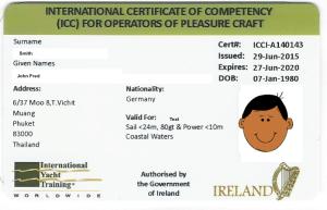 Example ICC certificate