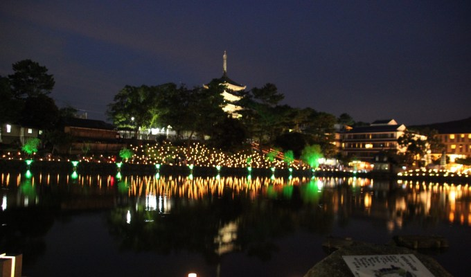 A fireworks party, a lantern light wraps the city of Nara