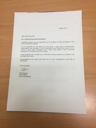 Fian Finalist letter