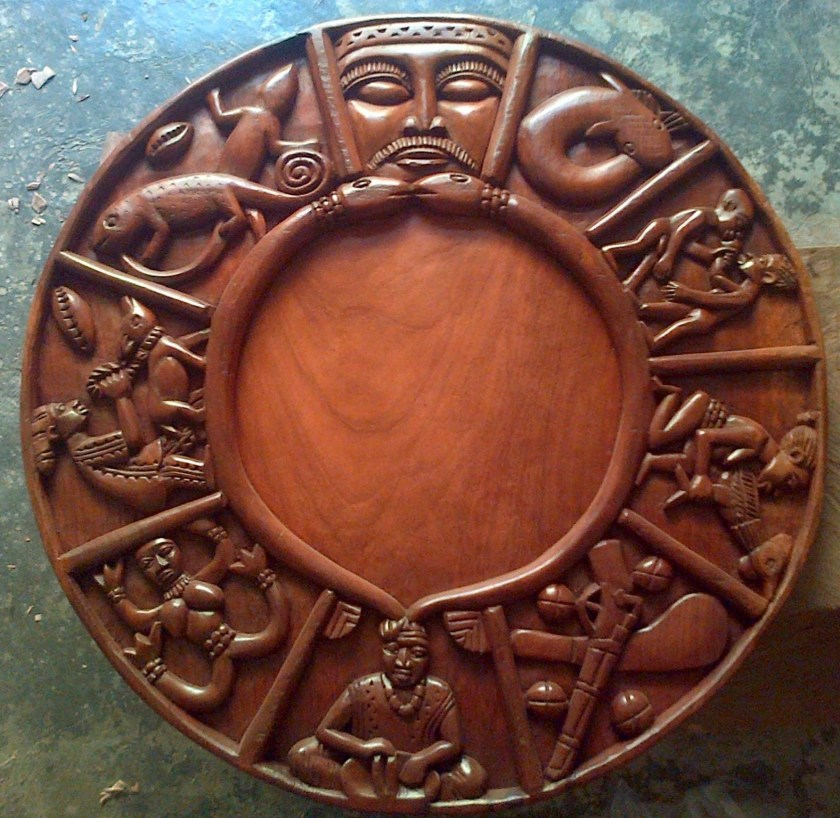 Opon Ifa - Tray of Ifa used in divination where Iyerosun is applied