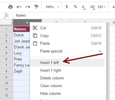 Insert Left: Google Sheets