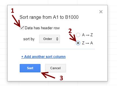 Sort Range Selections: Google Sheets