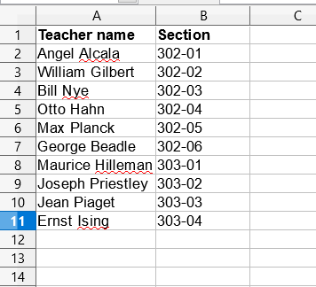 List of teachers by section in Excel Sheet