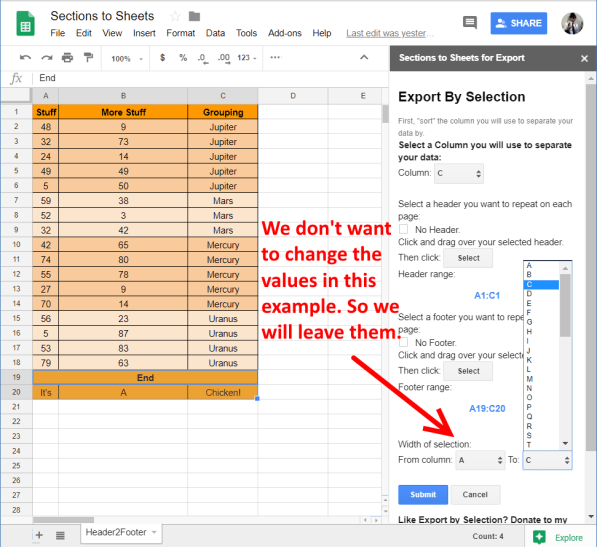 Change the width in columns of the selection