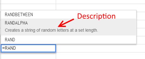 Custom Function Description - Google Sheets