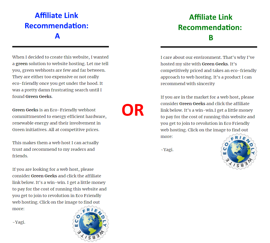 A B testing for Affiliate Recommendation with Javascript