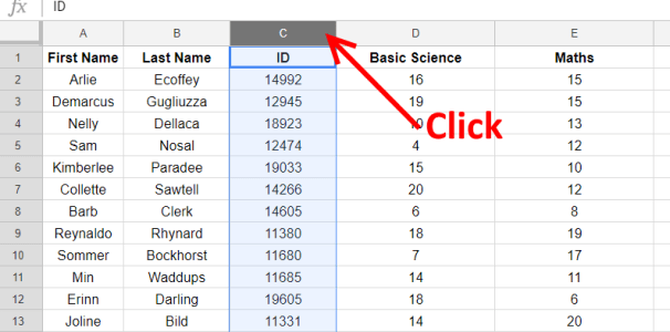 column select - Google Sheets