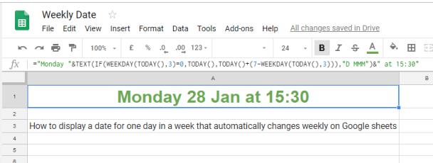 Weekly Date Formula Google Sheets