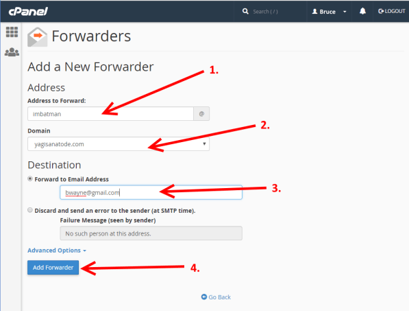 Create an Email Forwarder from cPanel