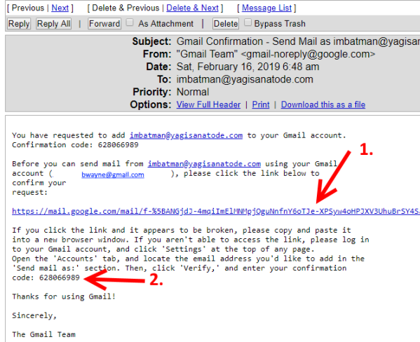cpanel email from gmail verification