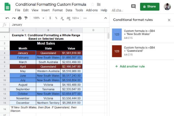 Conditional Format Entire Row Google Sheets