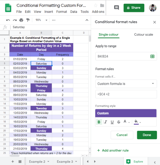 Conditional Format Row Google Sheets based on other column values