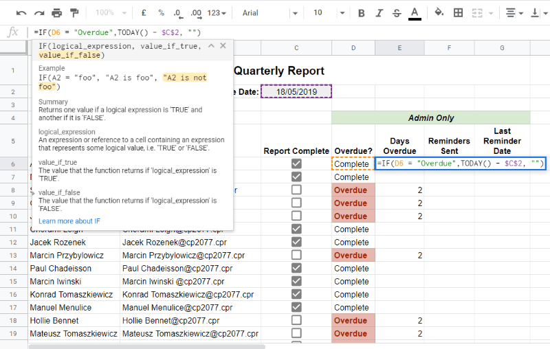 Check for days overdue Google Sheet