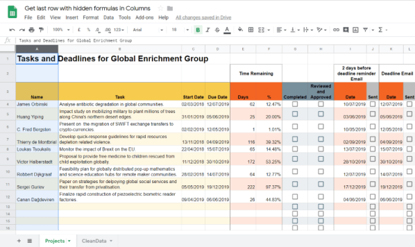 Select a column to determine the last row - Google Apps Script